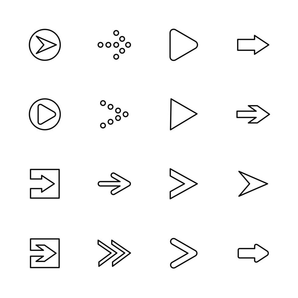 conjunto de flechas delineadas apuntando a la dirección correcta vector