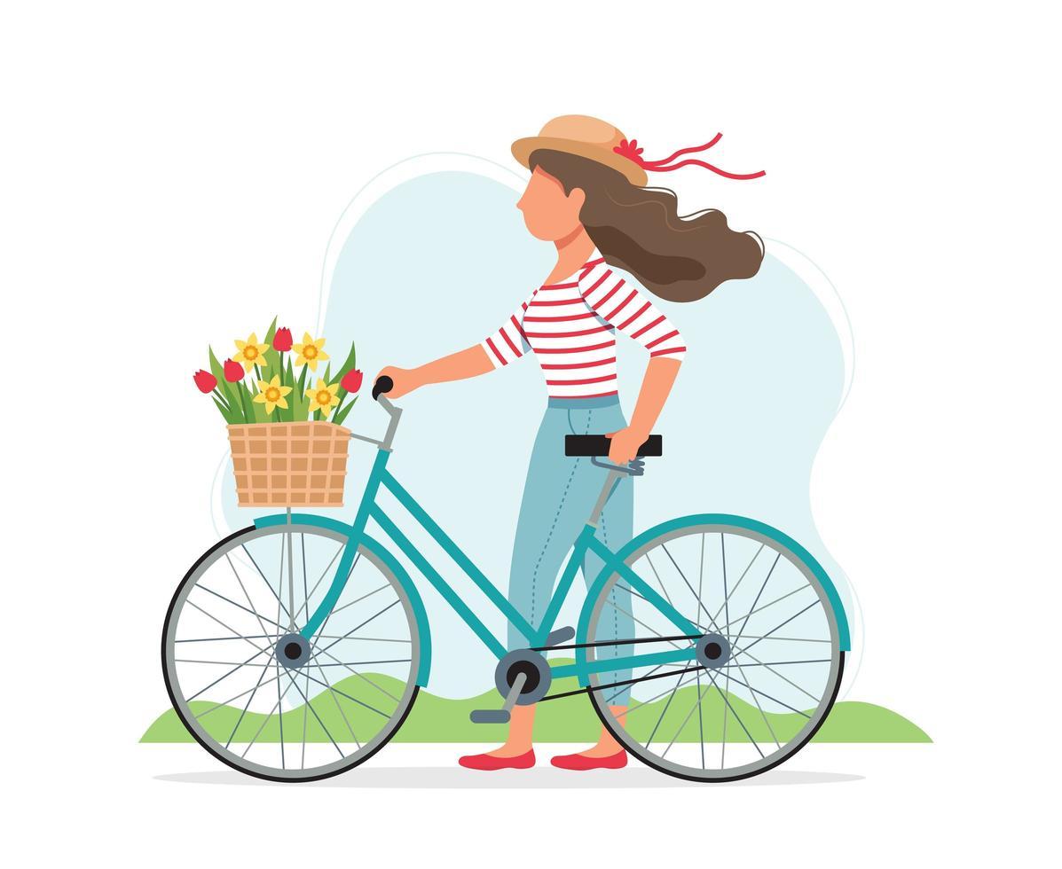 mujer con una bicicleta con flores en la canasta vector