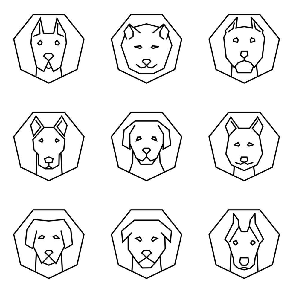 Outine Icon Set Dog Faces vector