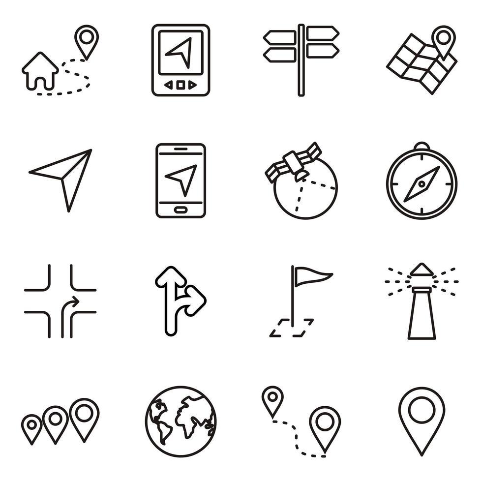 Navigation Technology Icon Set vector