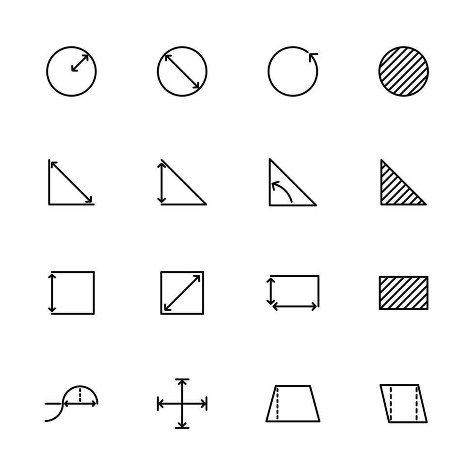 icono de línea establece medición matemática básica o medición vector
