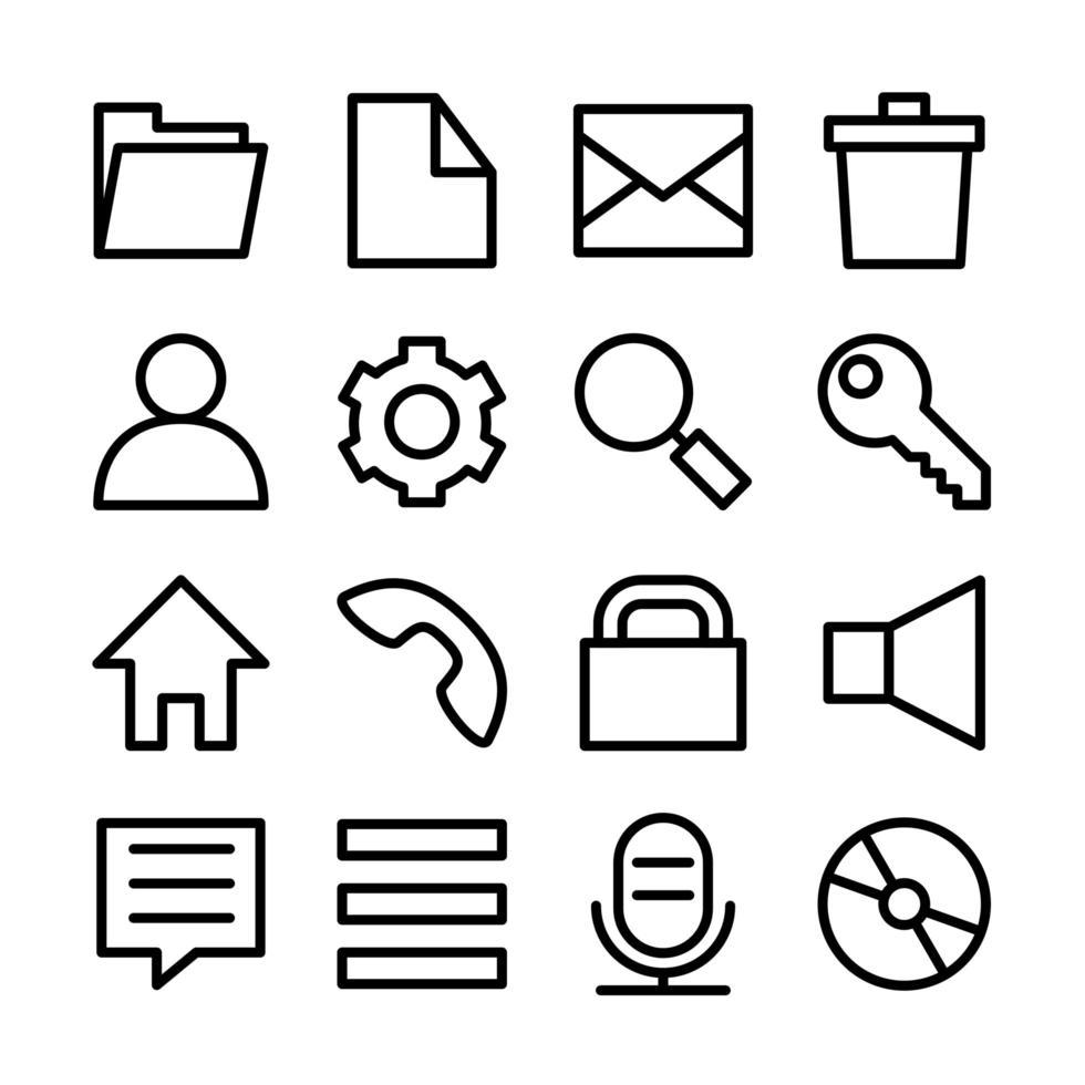 conjunto de iconos de línea relacionados con la interfaz de usuario del sistema operativo popular vector