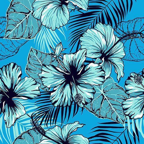 sin patrón de hibisco azul vector