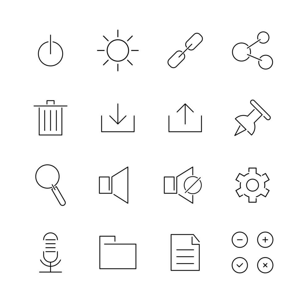 iconos de línea de interfaz de usuario vector