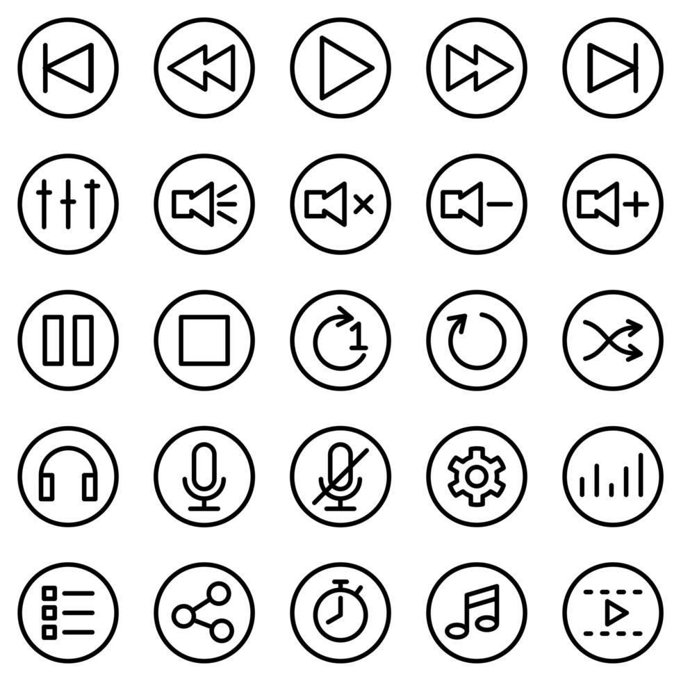 conjunto de iconos de línea para software o aplicación de reproductor multimedia vector