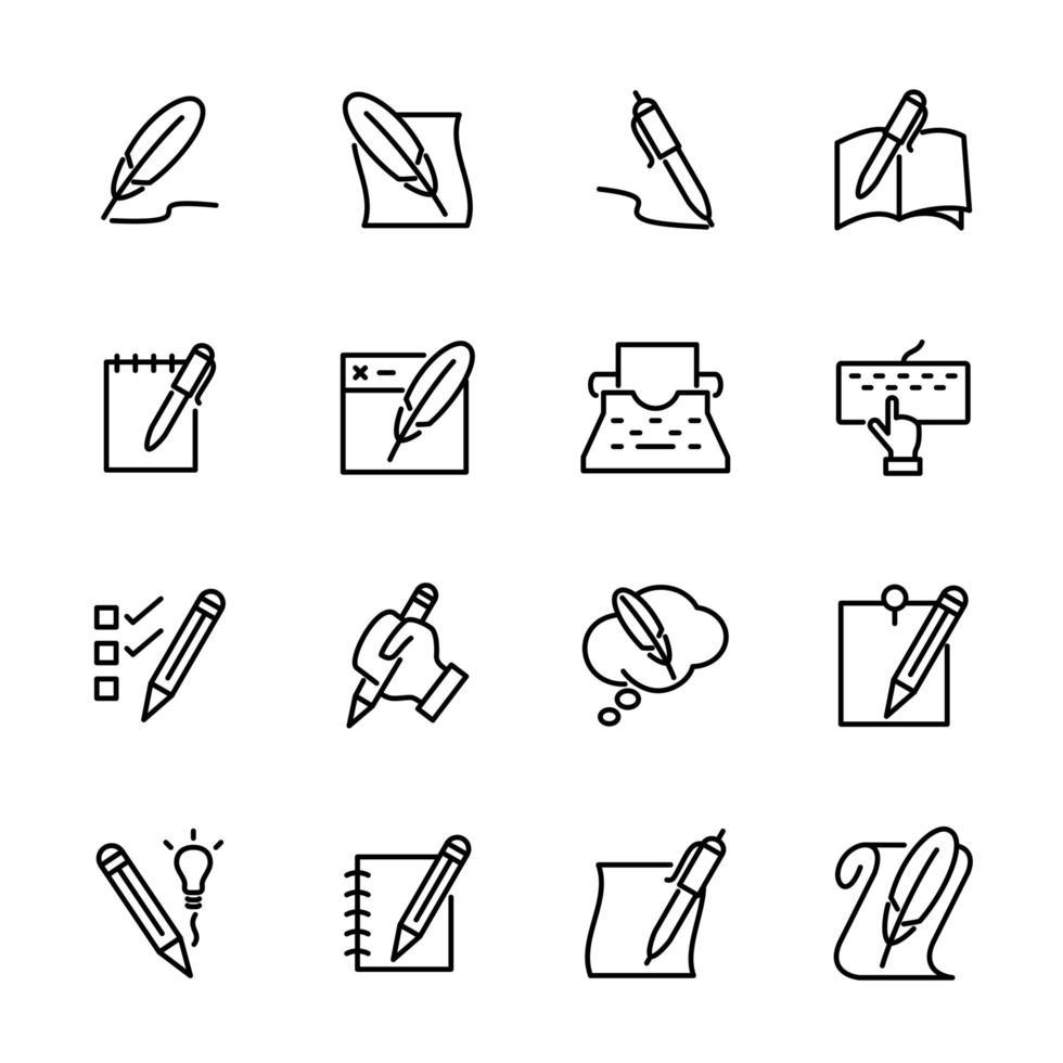 conjunto de iconos de línea relacionados con la actividad de escritura vector