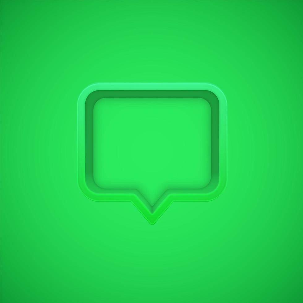 Green 3D speech bubble vector