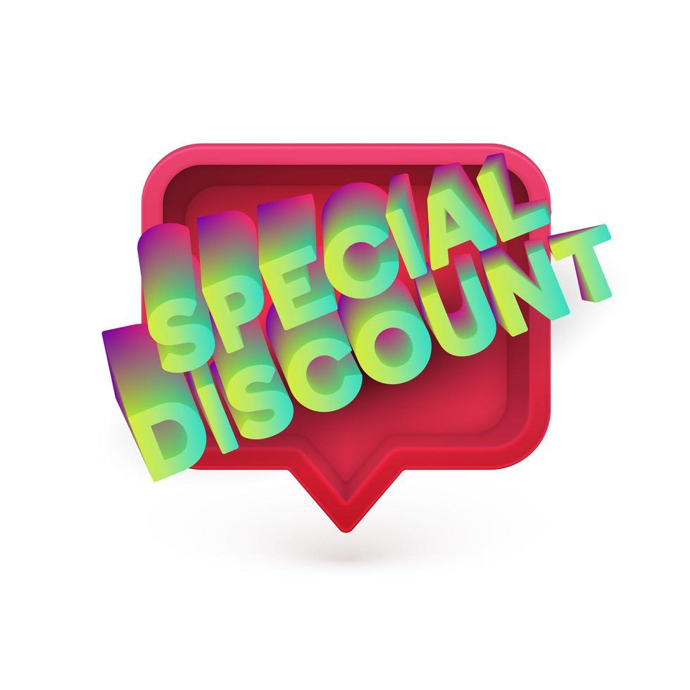 Special Discount text speech bubble vector