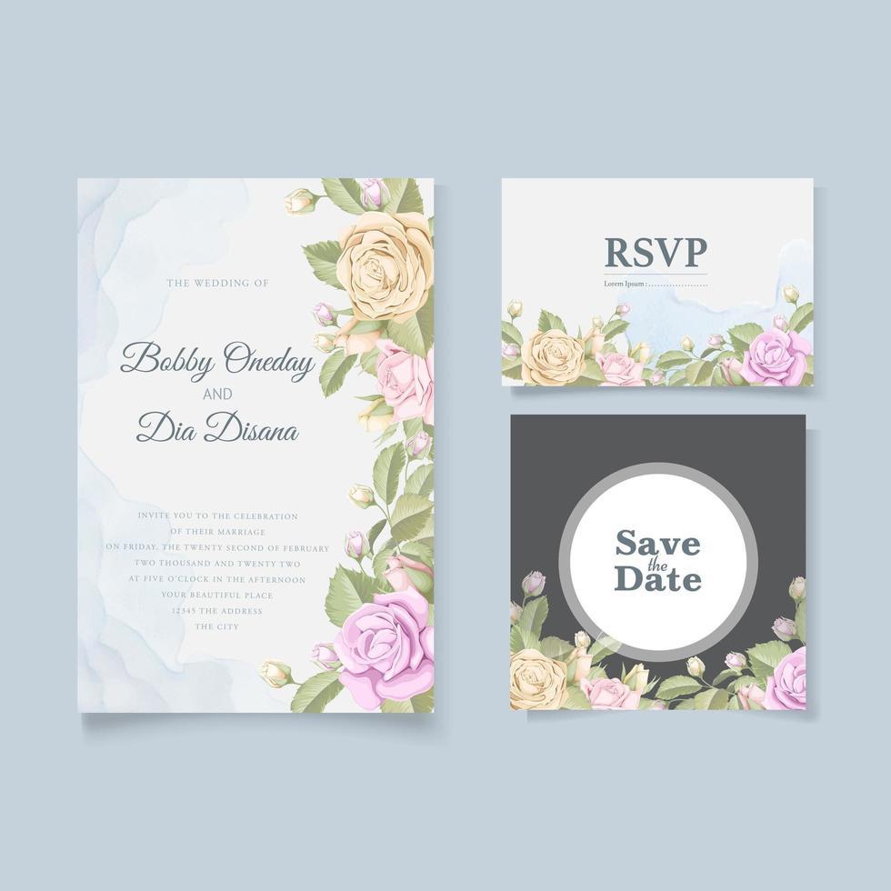conjunto de tarjeta de boda rosa acuarela vector