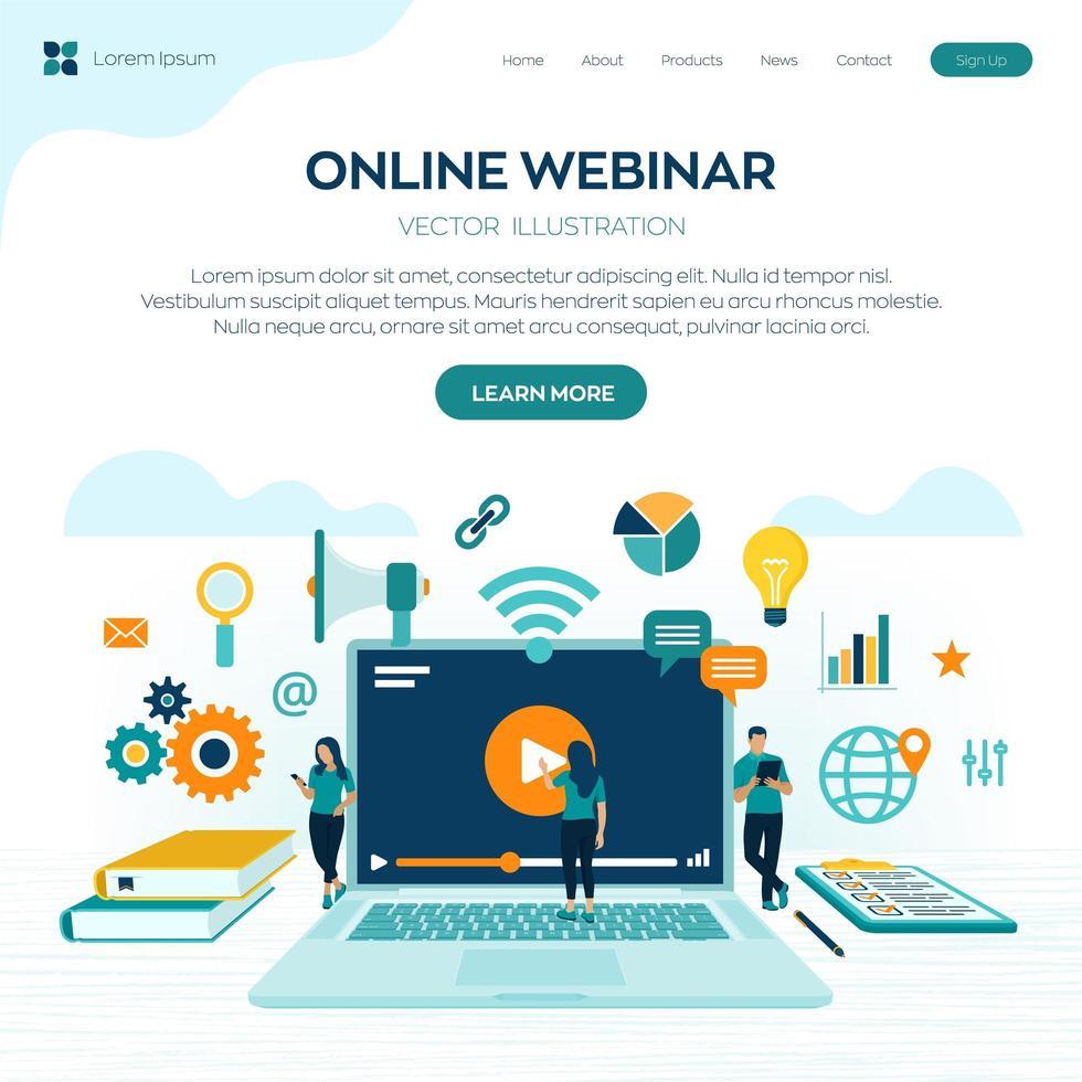 página de inicio del seminario web en línea vector