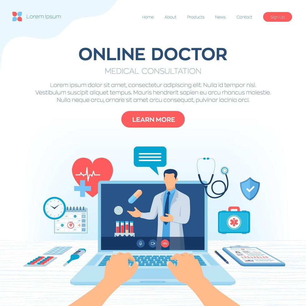 Online doctor medical consultation landing page vector