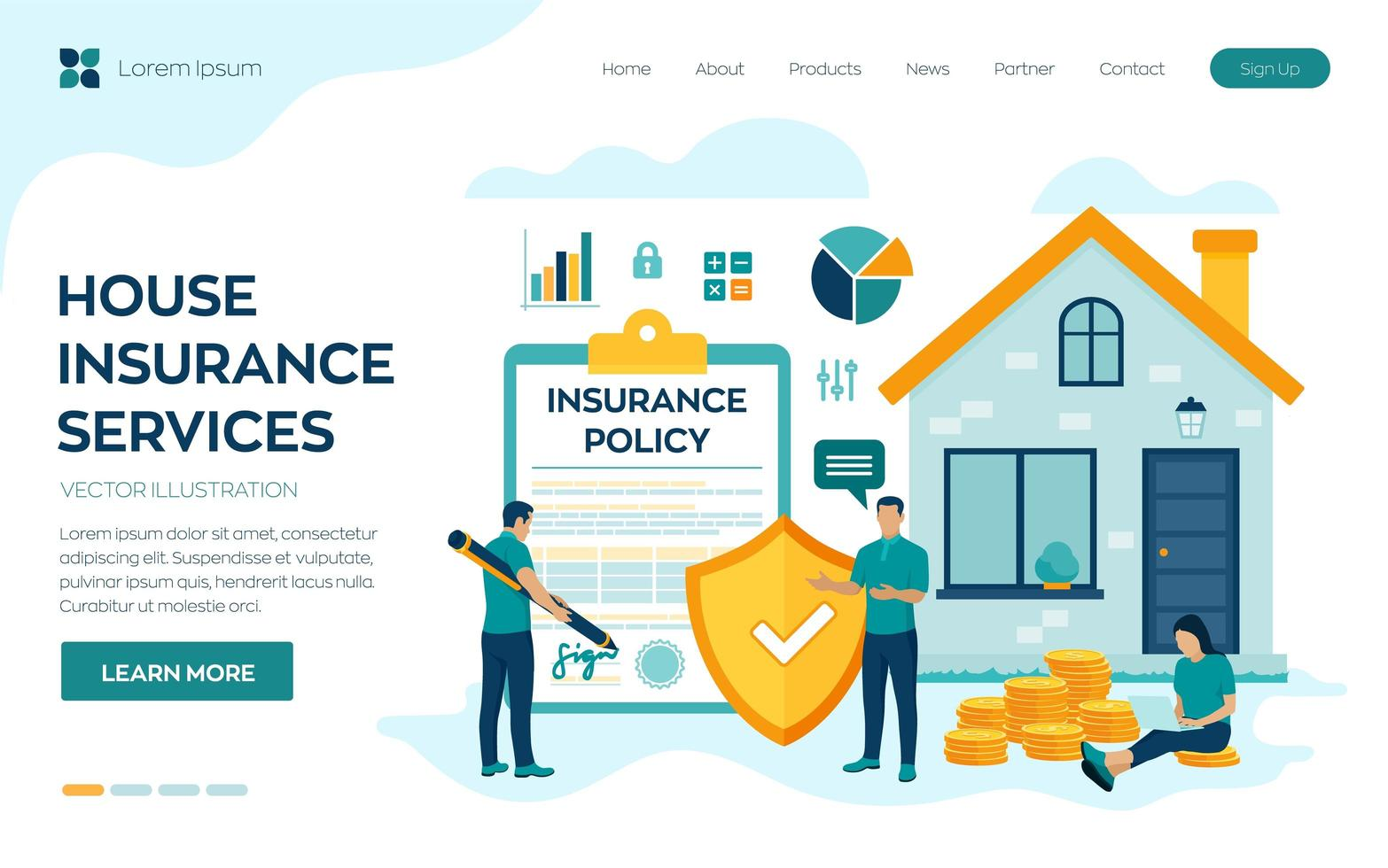 House insurance landing page vector