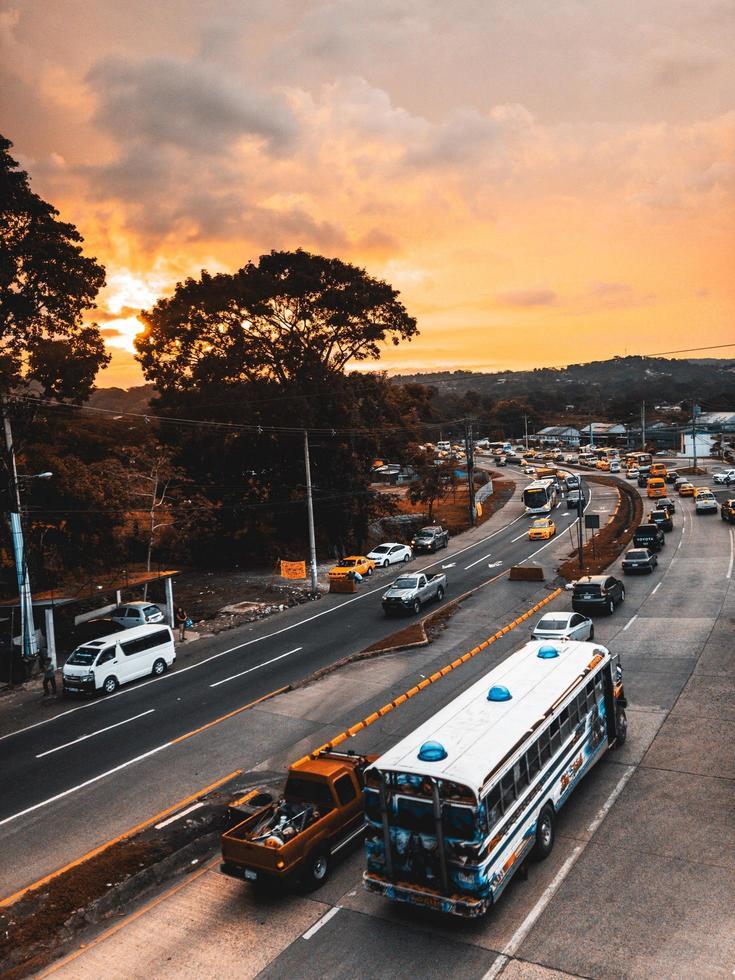 Traffic during dawn photo