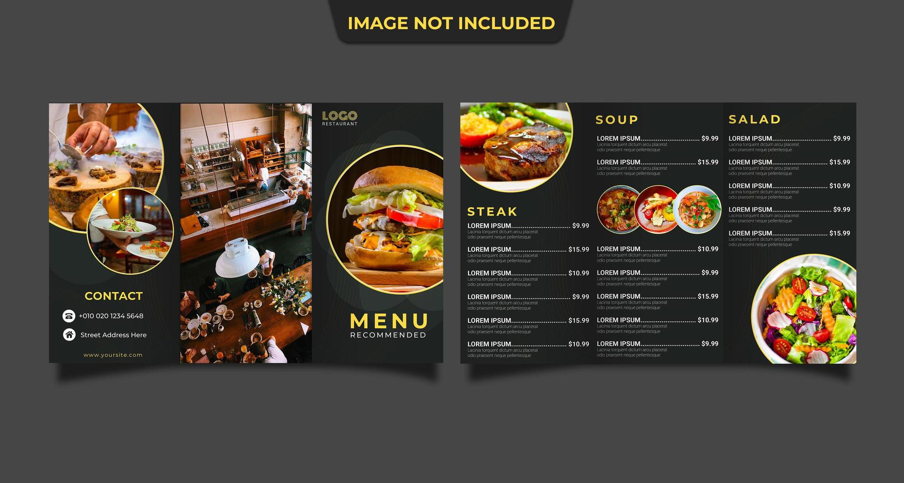plantilla de folleto de restaurante plegable vector