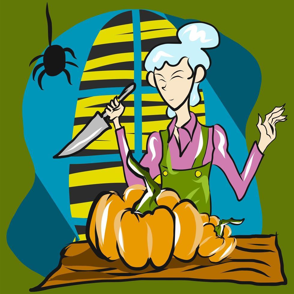 mujer cortando pumpking para halloween vector