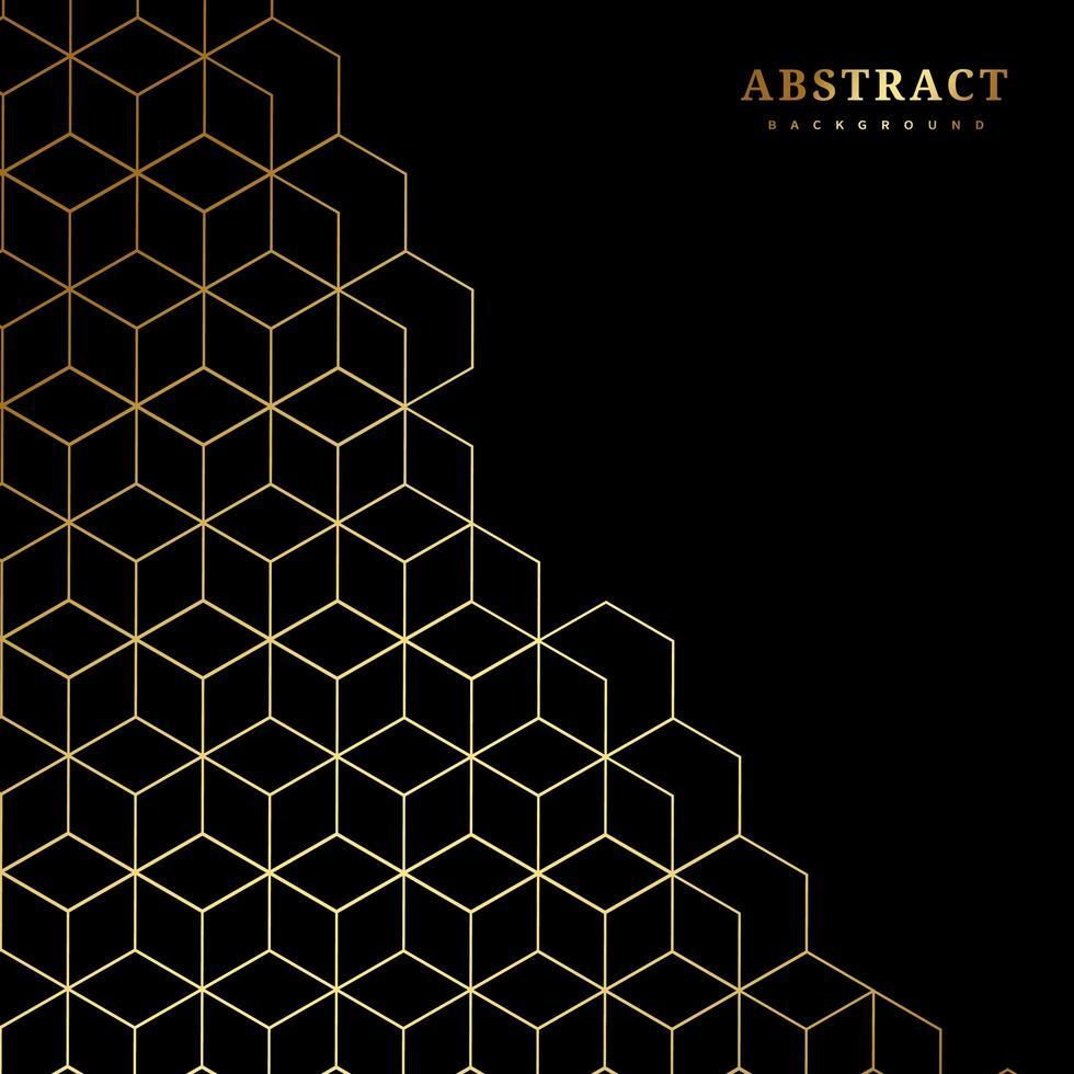 patrón de hexágonos de oro sobre negro vector