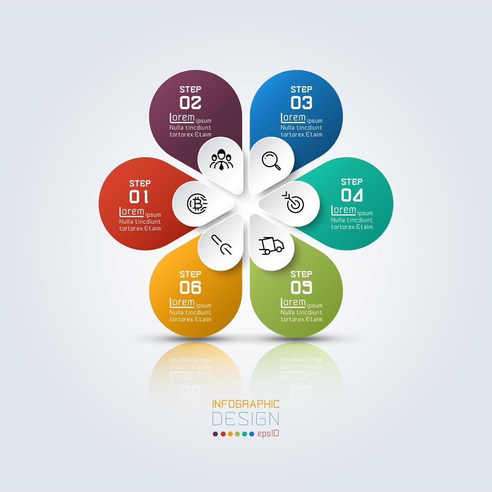 infografía de flores de colores con 6 opciones vector