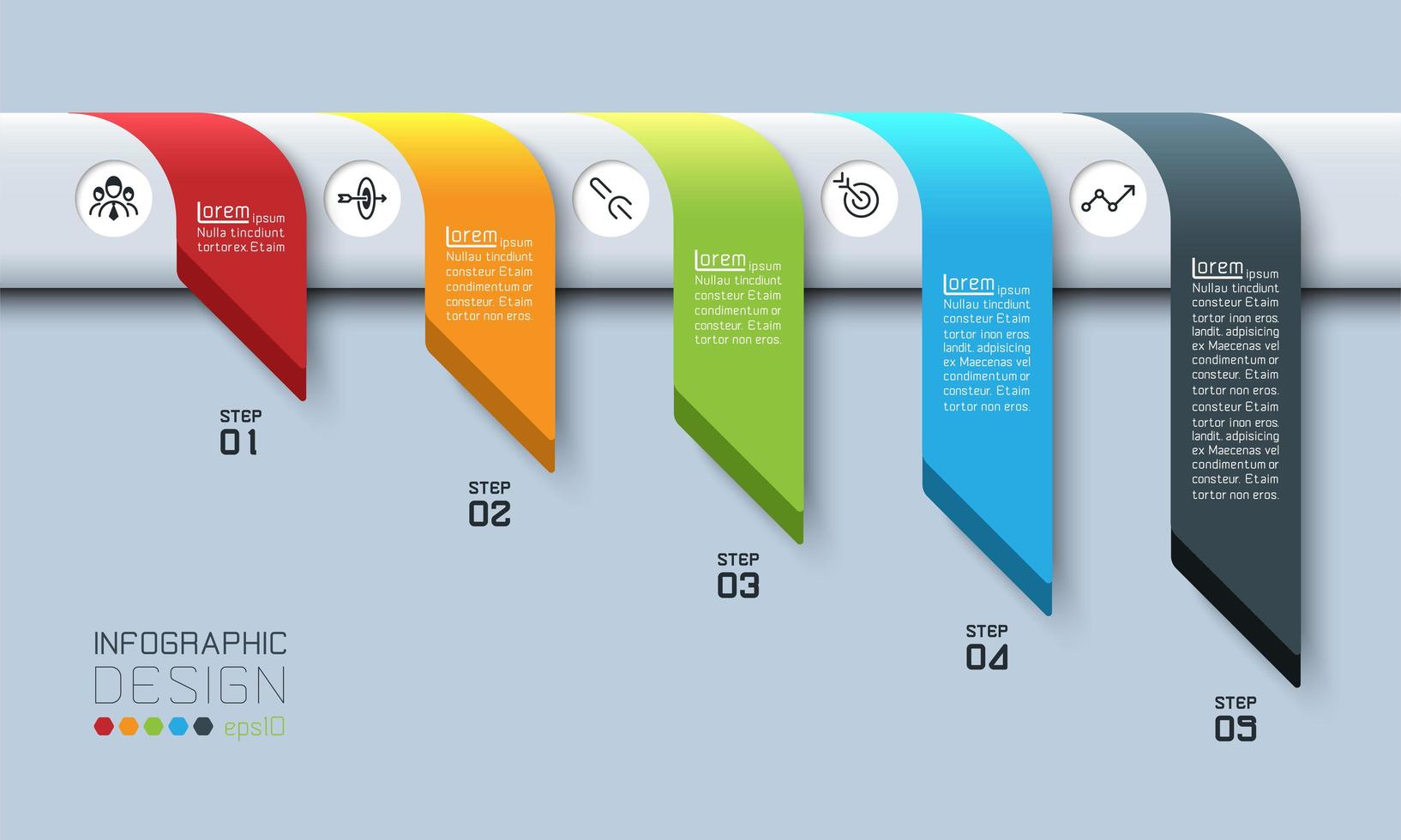 Draped Banners Business Steps Thinking Strategy vector