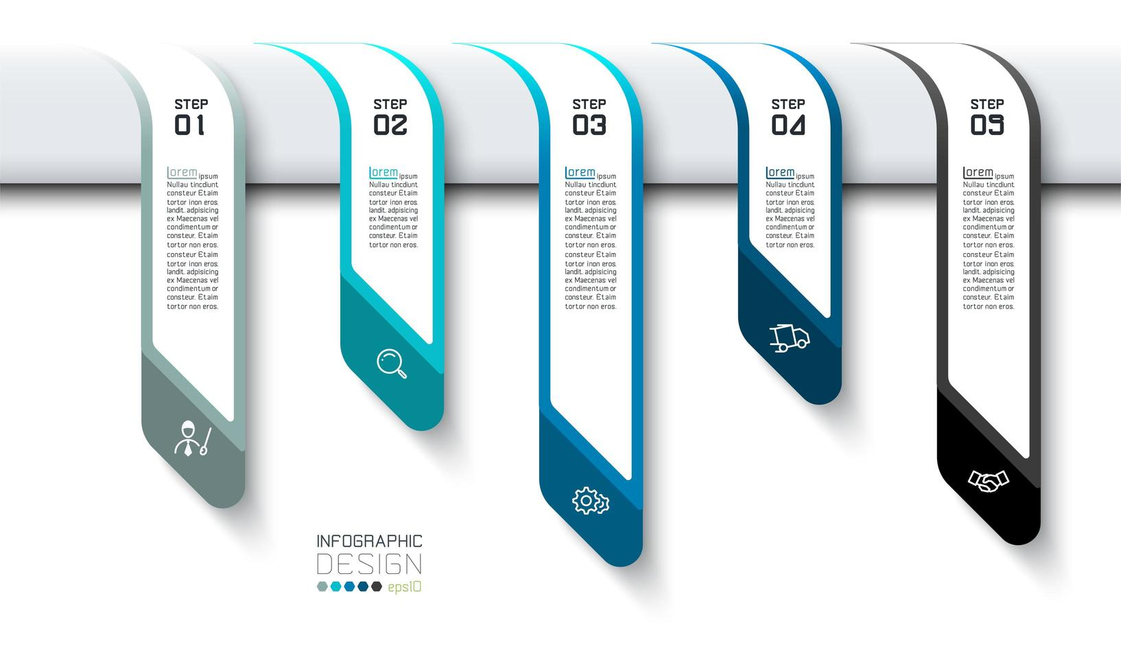 Business Step Banners Thinking Strategy Management Infographics vector