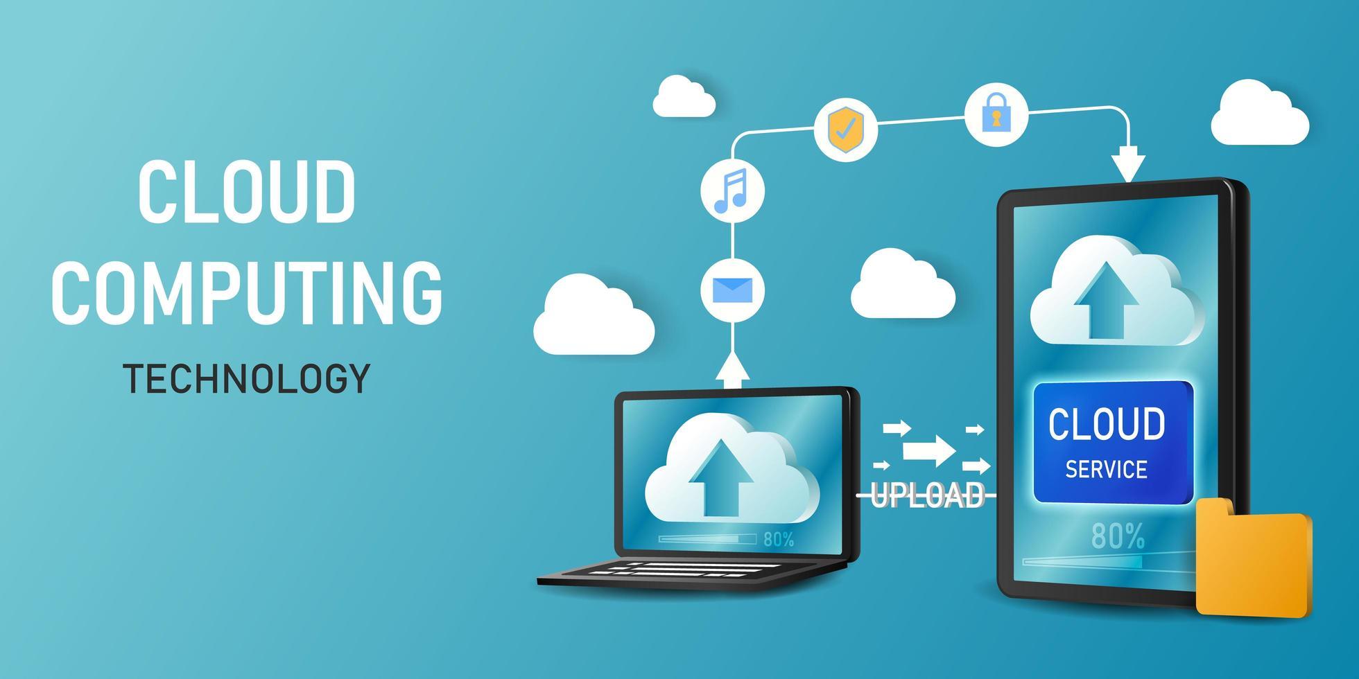 Concept cloud computing technology template  vector