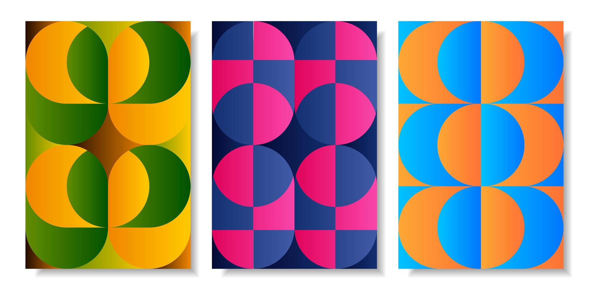 Colorful abstract geometric retro card set vector