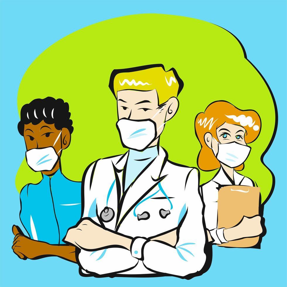 doctor y equipo vector