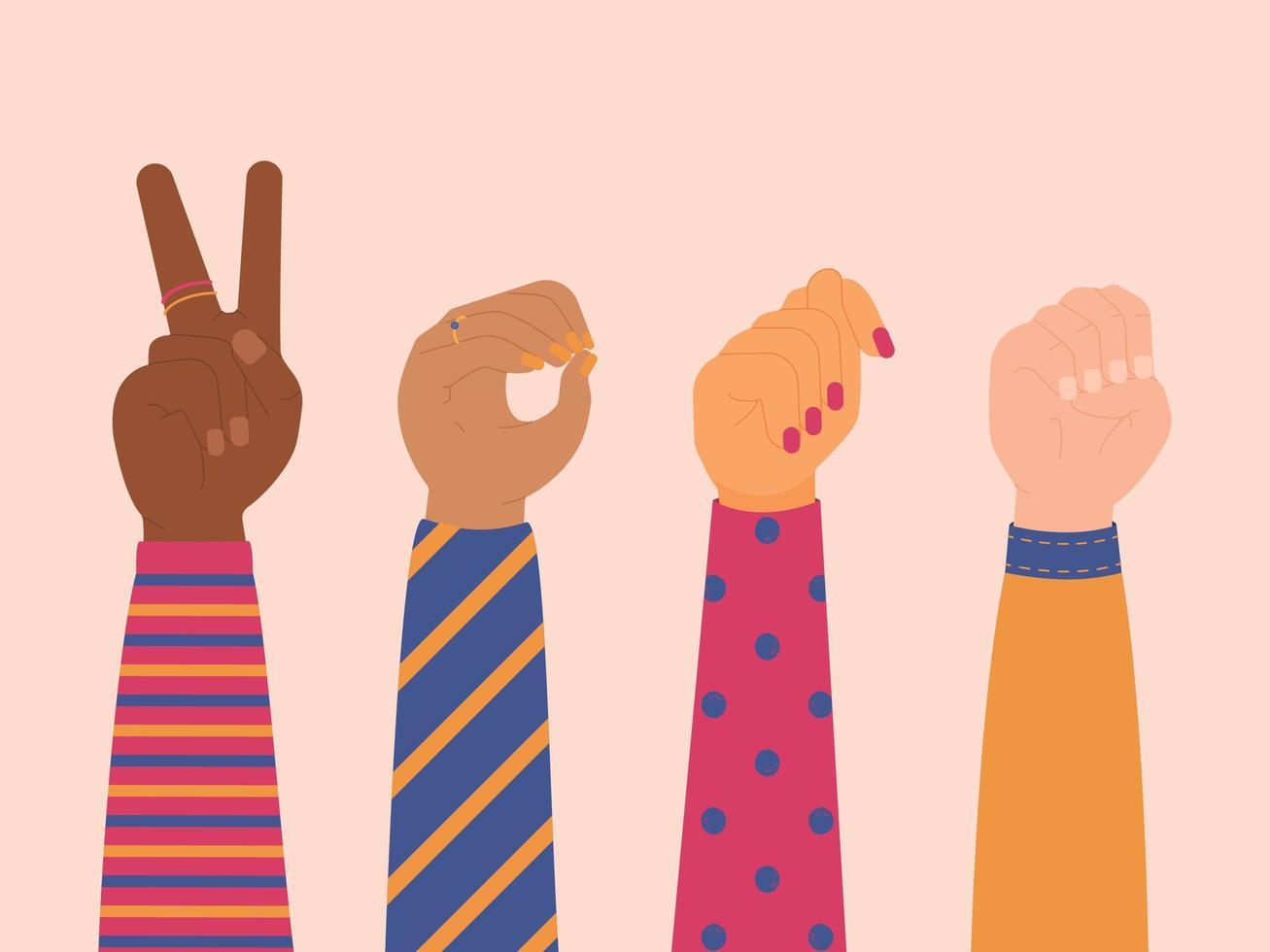 Manos femeninas mostrando la palabra voto lenguaje de señas vector