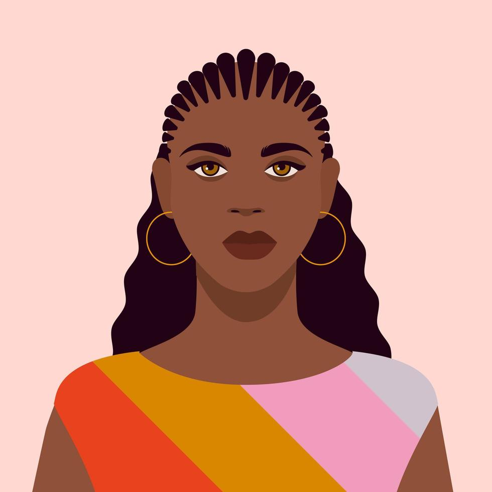 Portrait of a Young Black Woman vector