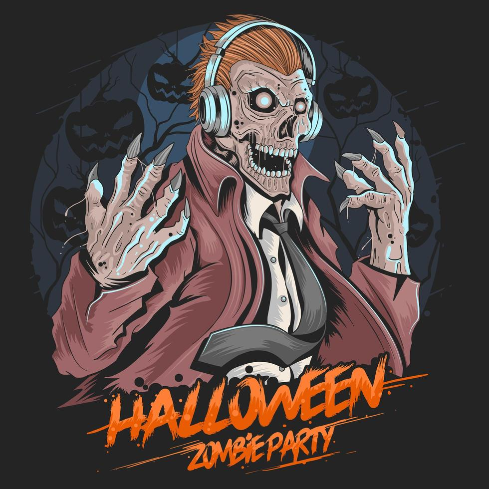 Skull Zombie Music Party  vector