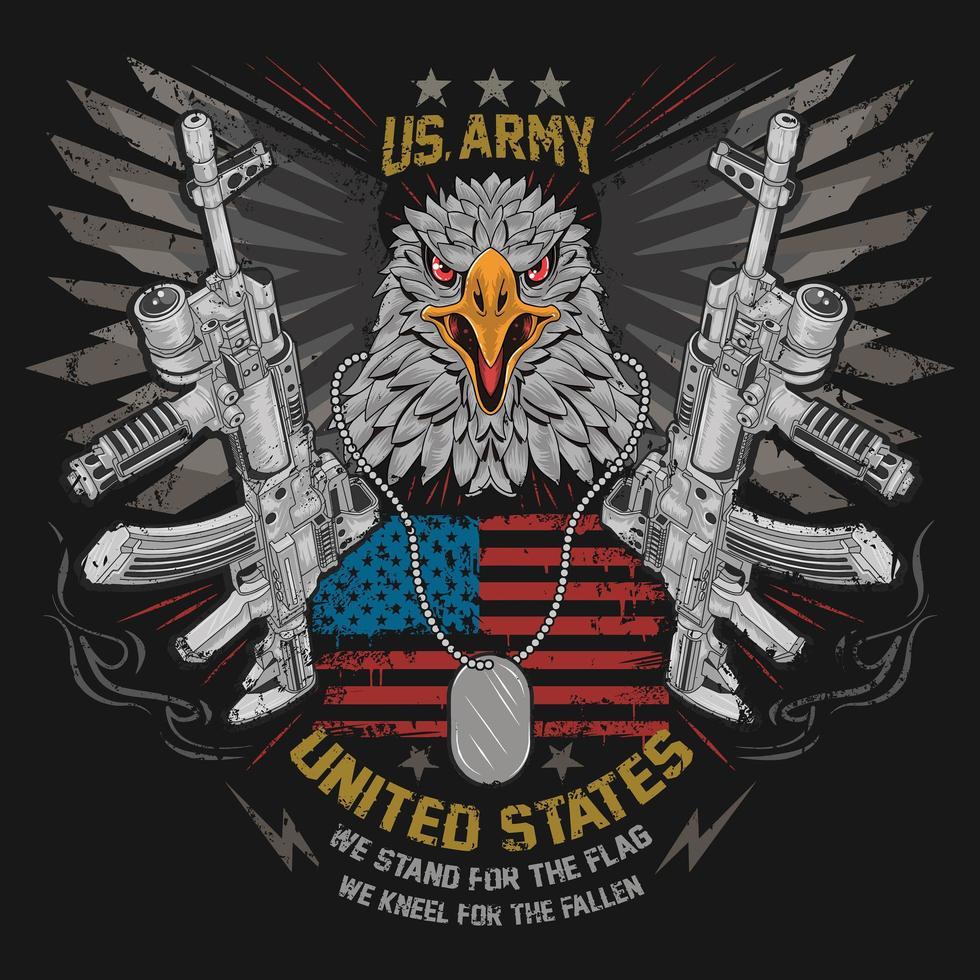 águila y una ametralladora vector