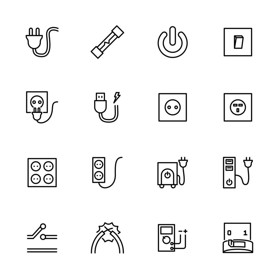 Line icon set related to electrical equipment. vector