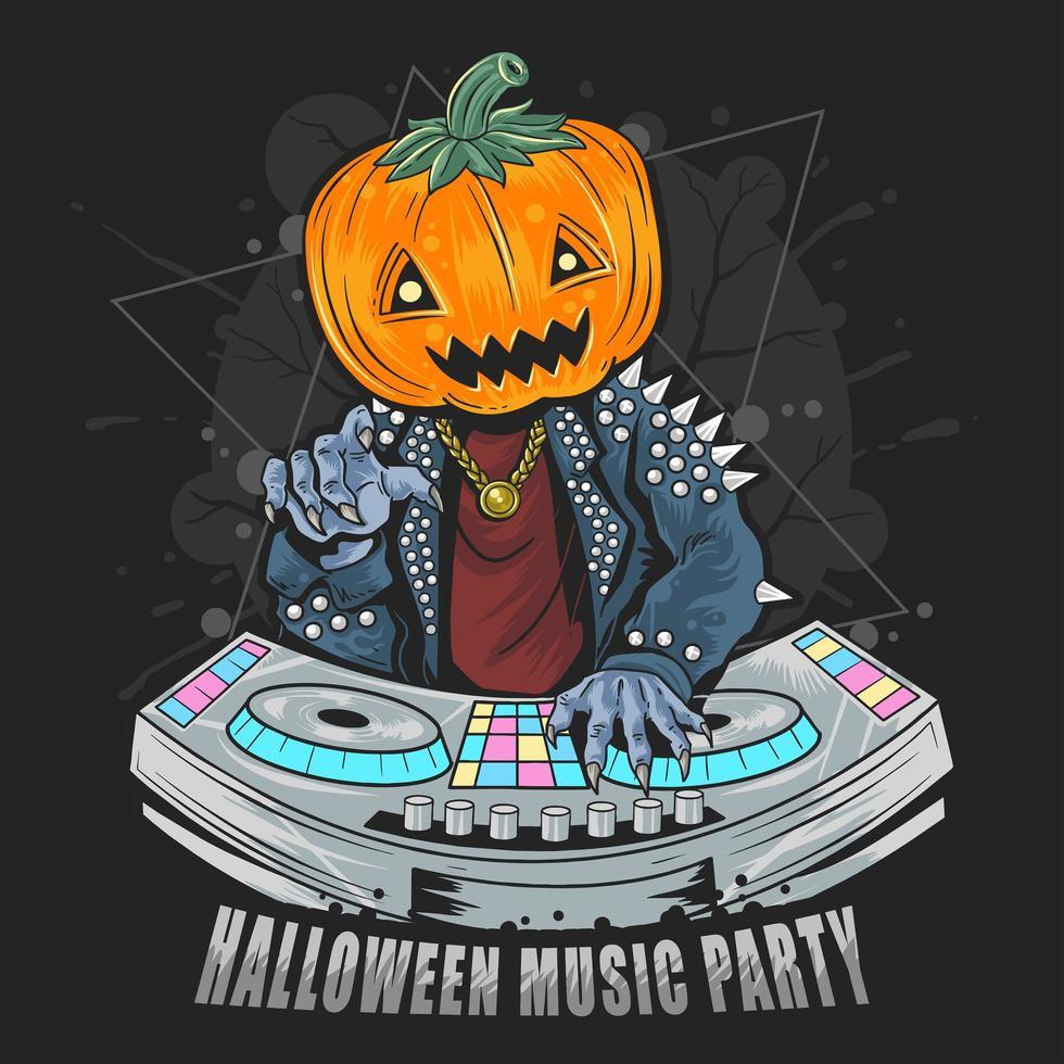 fiesta de halloween con dj vector