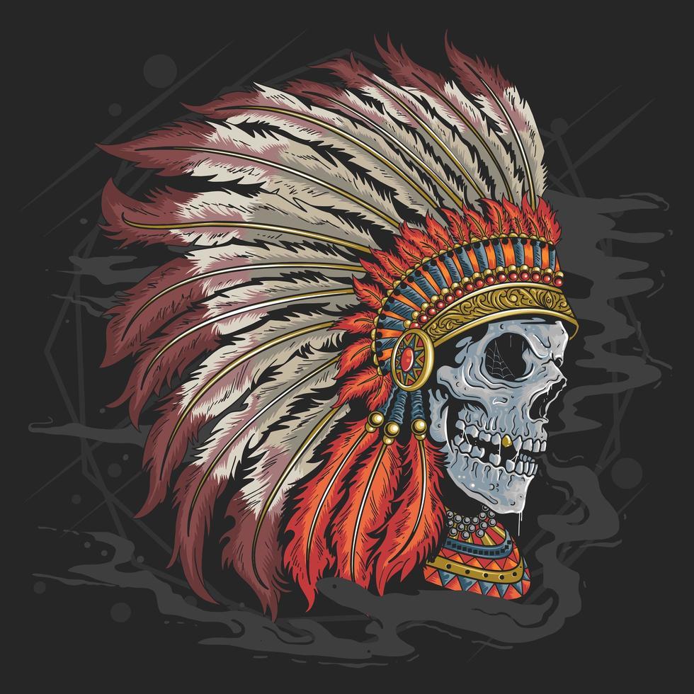 cráneo usa sombrero indio vector