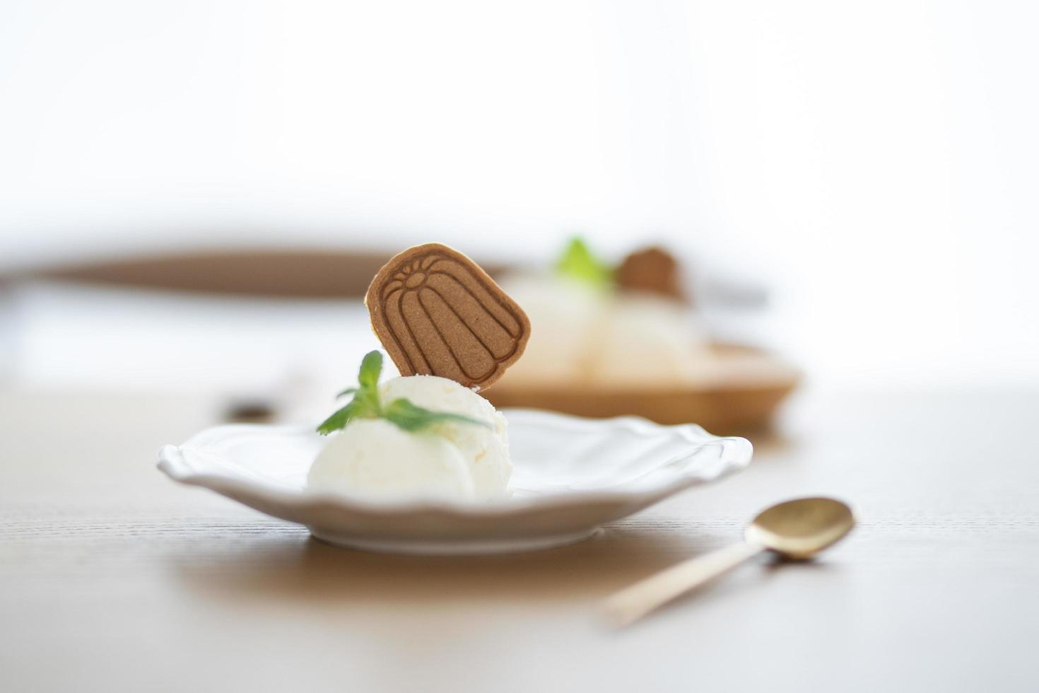 Ice cream with cookie on plate photo