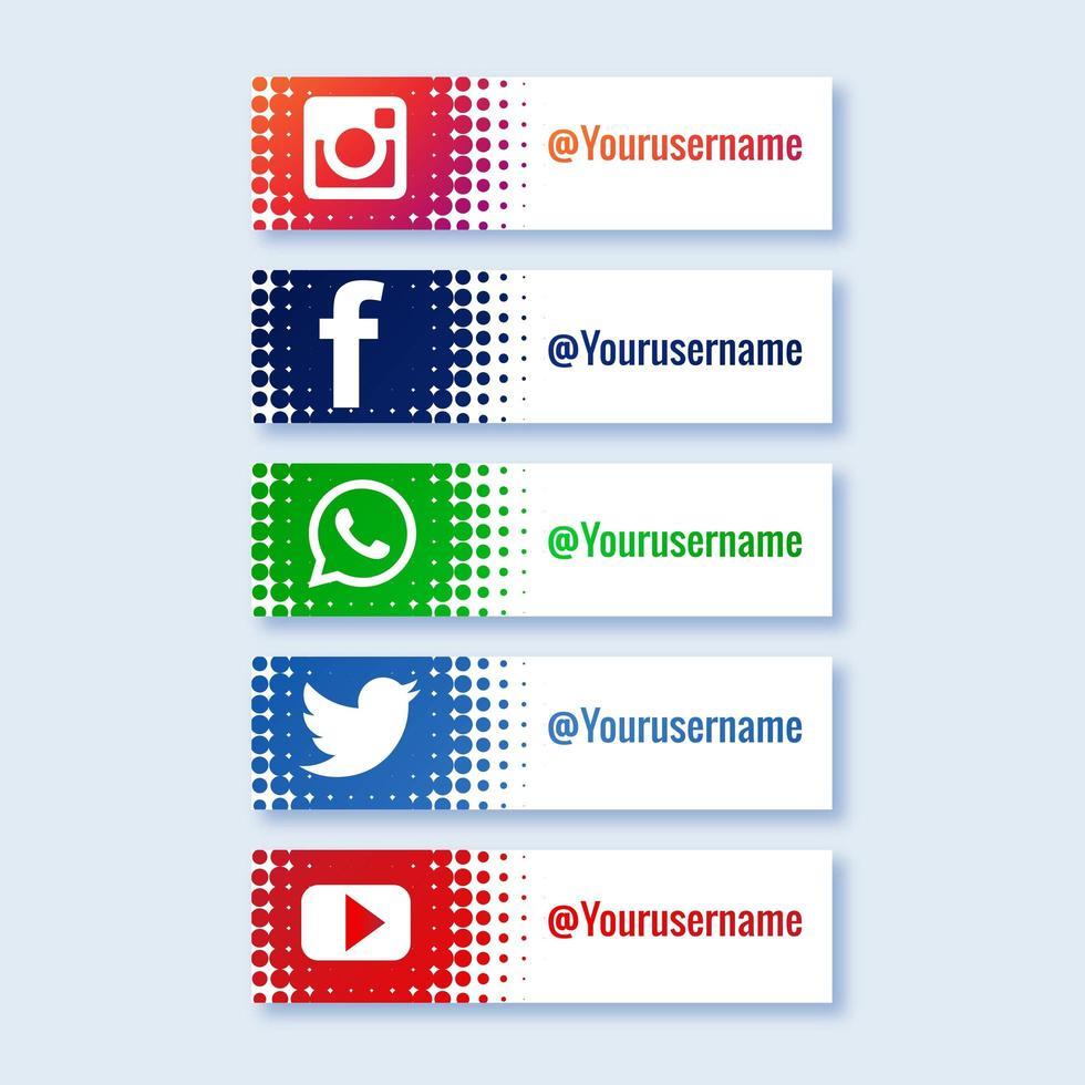 Elegant social media lower third collection set vector