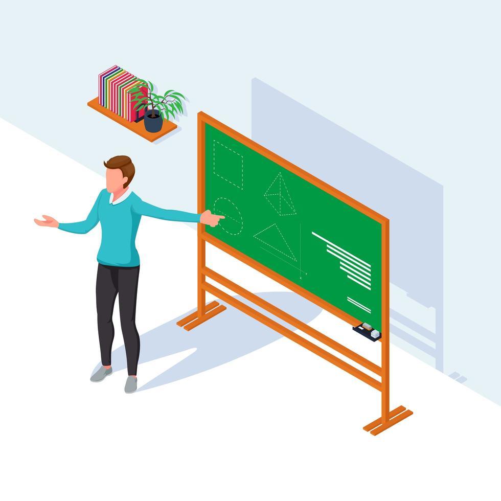 un profesor enseñando en el tablero vector