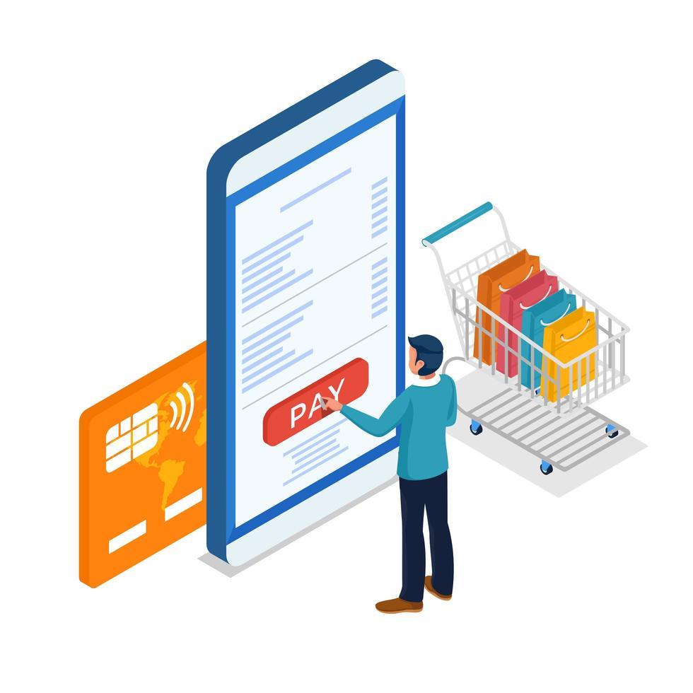 Male shopping online making payment via mobile phone vector