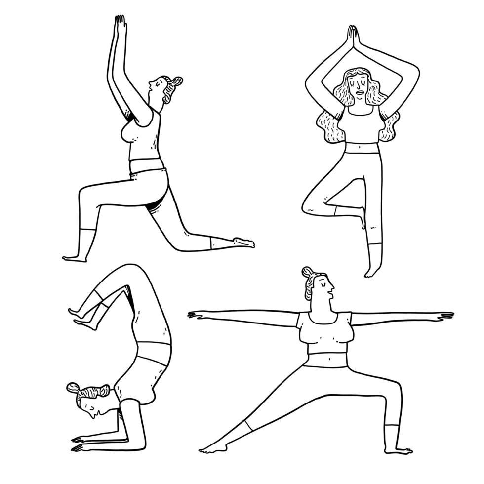ejercicios de yoga plantea en estilo de contorno vector