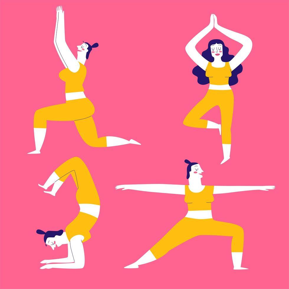 conjunto de pose de ejercicios de yoga colorido vector