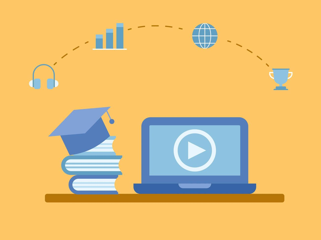 Learning Online Courses in Laptop Computer vector