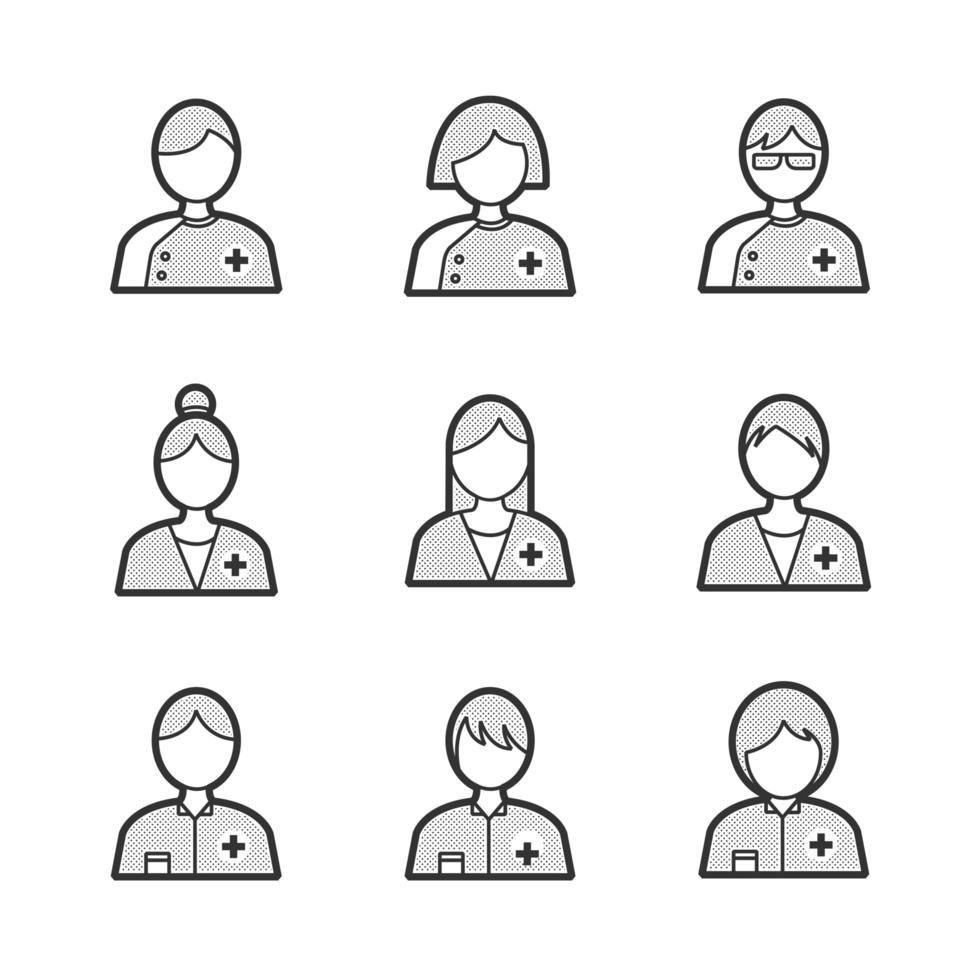 conjunto de iconos de avatar de personas médicas vector