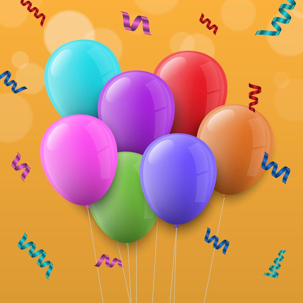 balões coloridos sobre fundo amarelo vetor