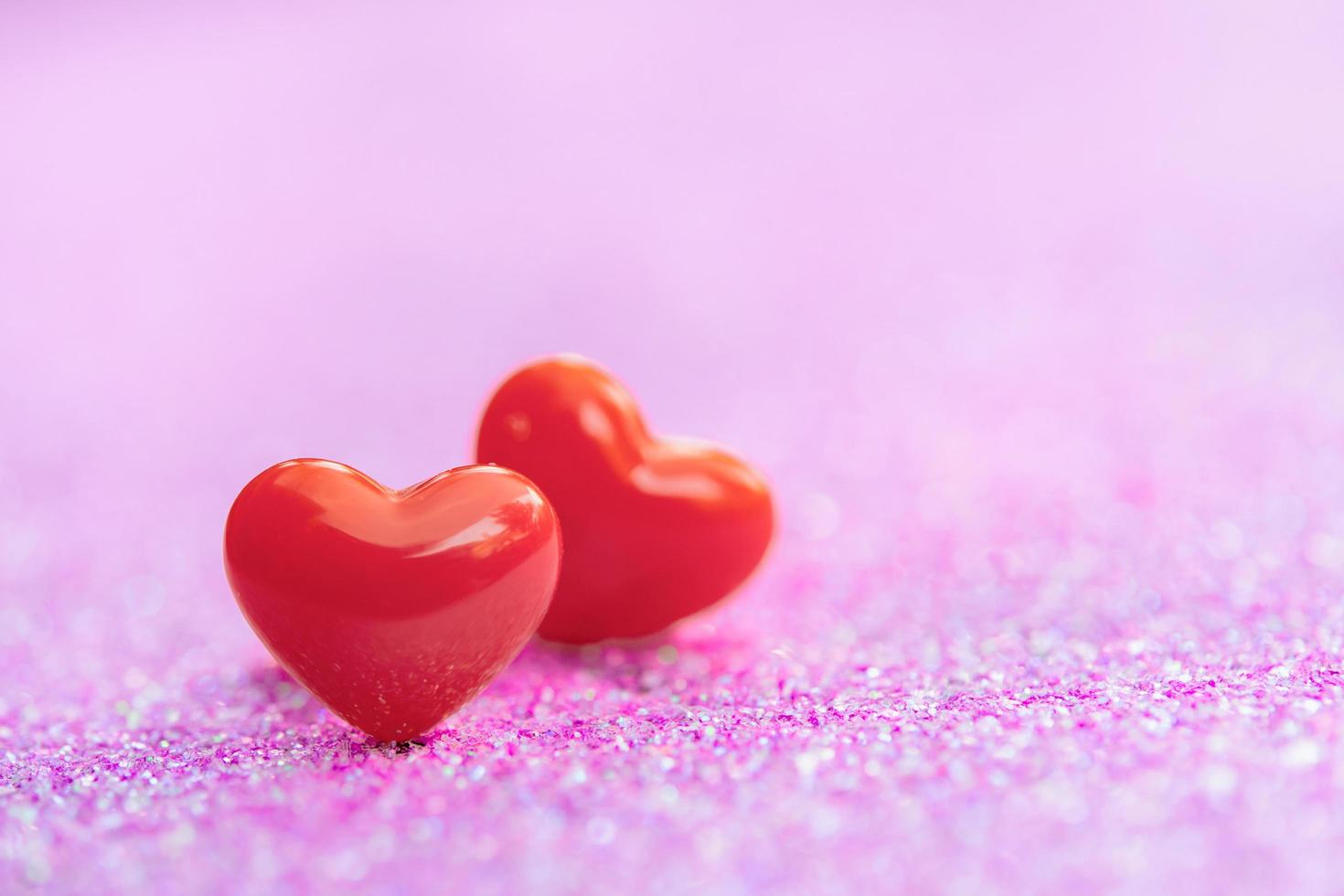 Valentines Day background with Red hearts photo