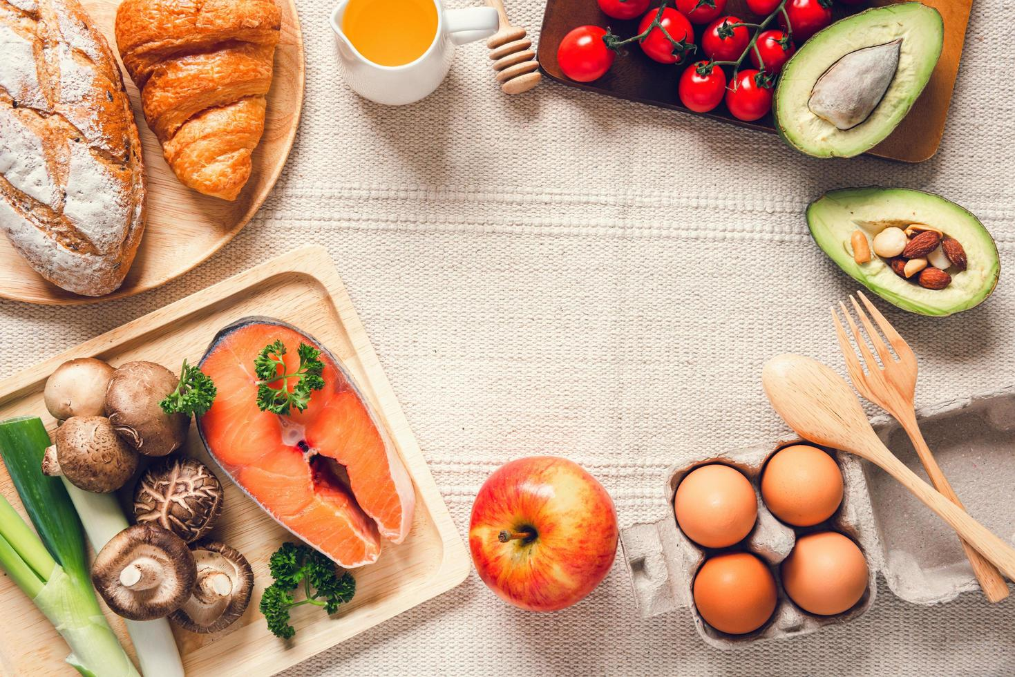 Table top view of healthy foods photo