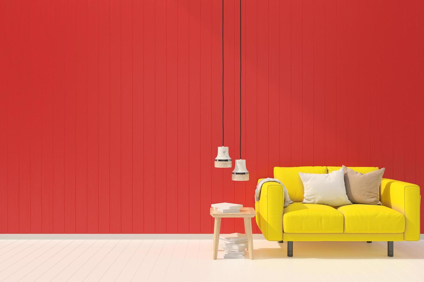 una moderna sala de estar roja y amarilla foto