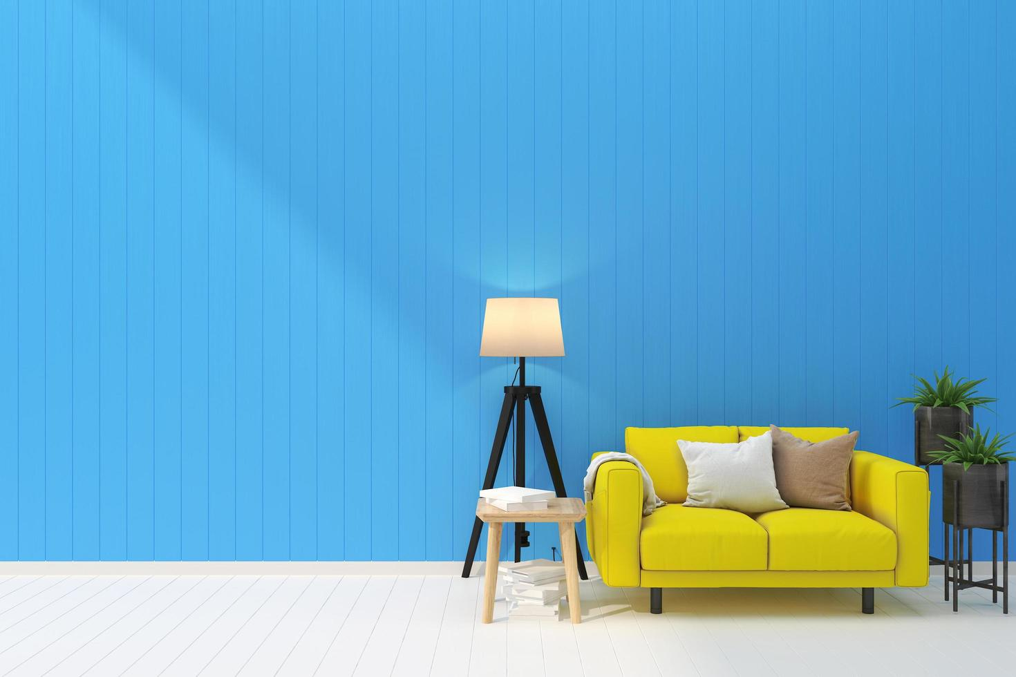 A living room with a blue wall photo