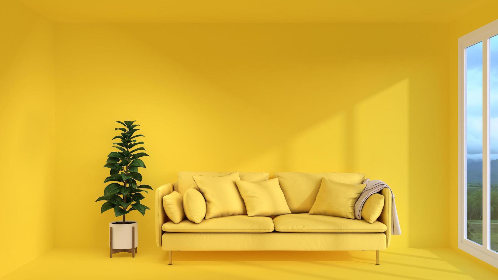 sala amarilla con diseño moderno foto