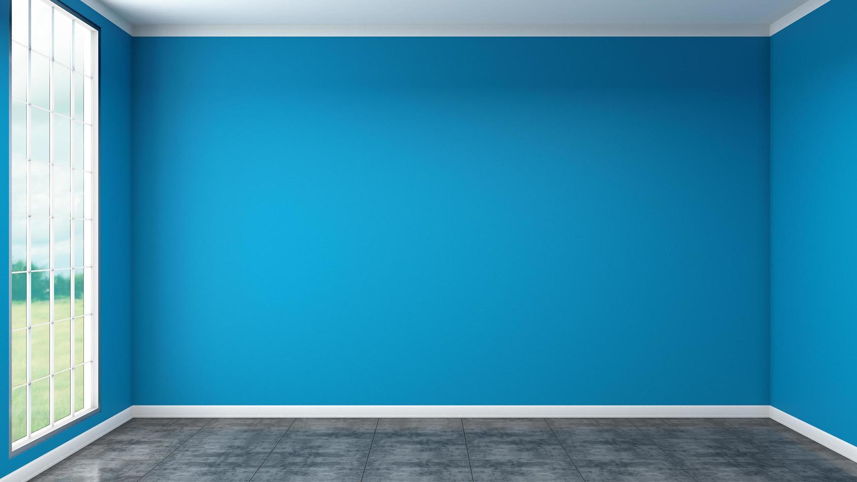 sala de estar azul moderna vacía foto