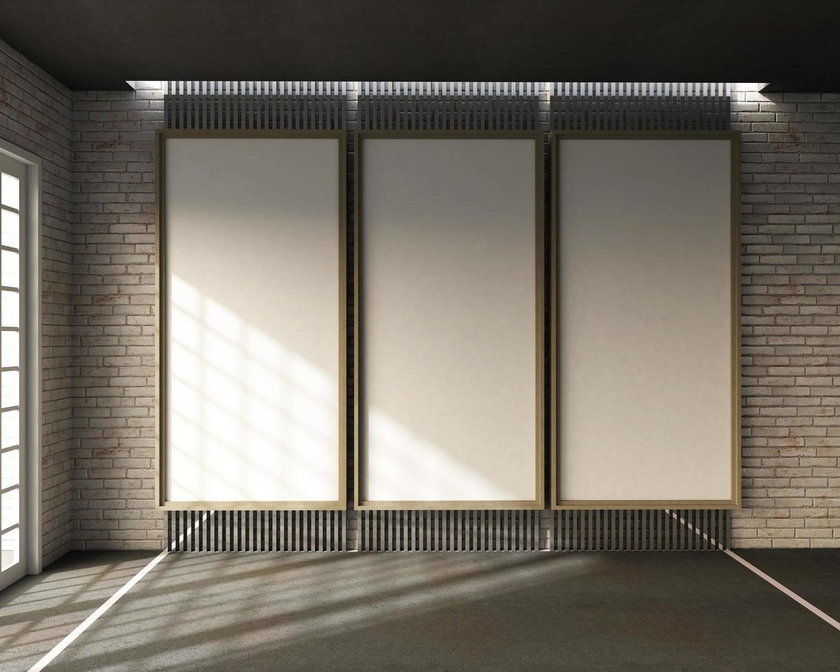 3D rendering of loft style classroom  photo