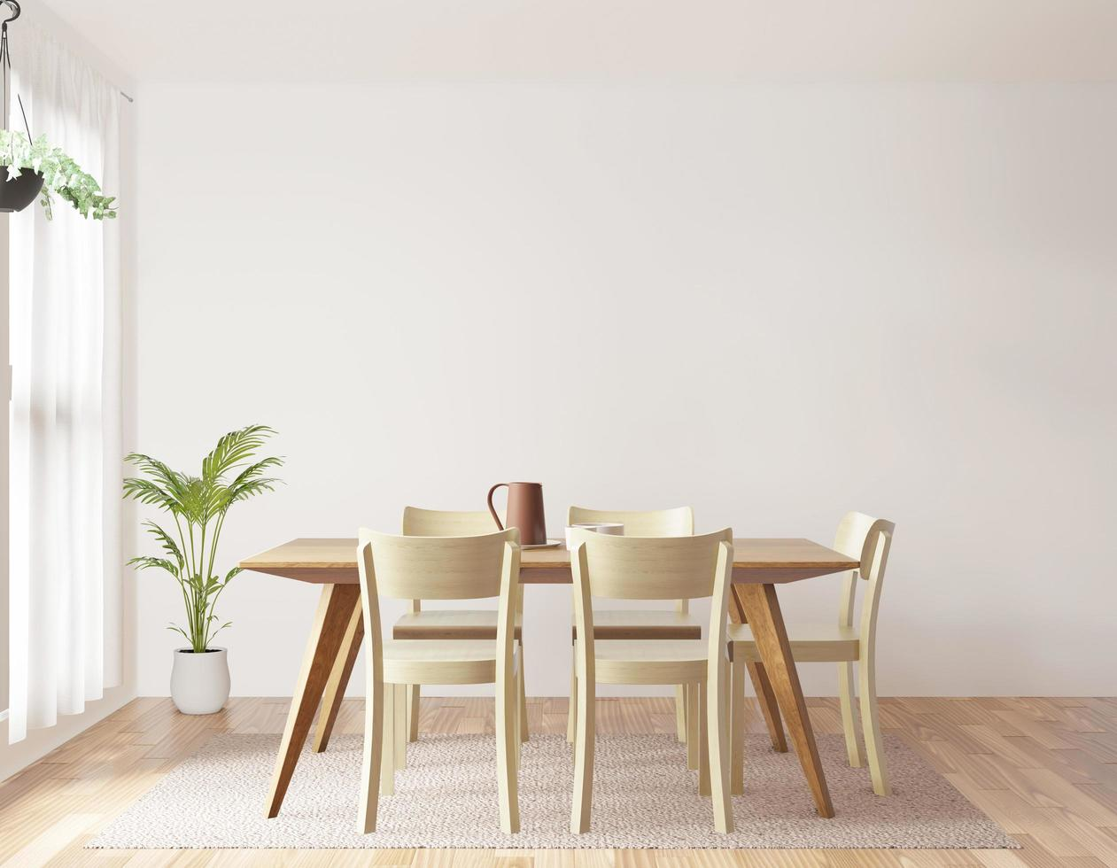 Dining room on white background, front view photo